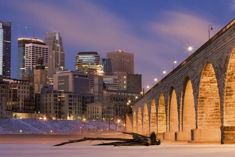 Minneapolis with Mississippi River frozen