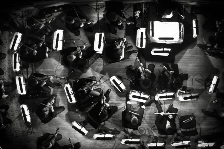 aerial photo of orchestra